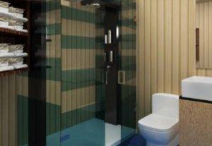 A imagem mostra o banheiro do abrigo que será construído para os sobreviventes do fim do mundo